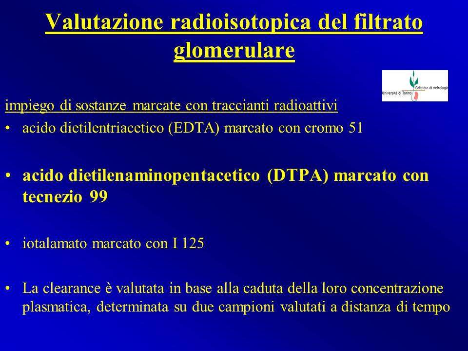 Valutazione radioisotopica del filtrato glomerulare impiego di sostanze marcate con traccianti radioattivi acido dietilentriacetico (EDTA) marcato con
