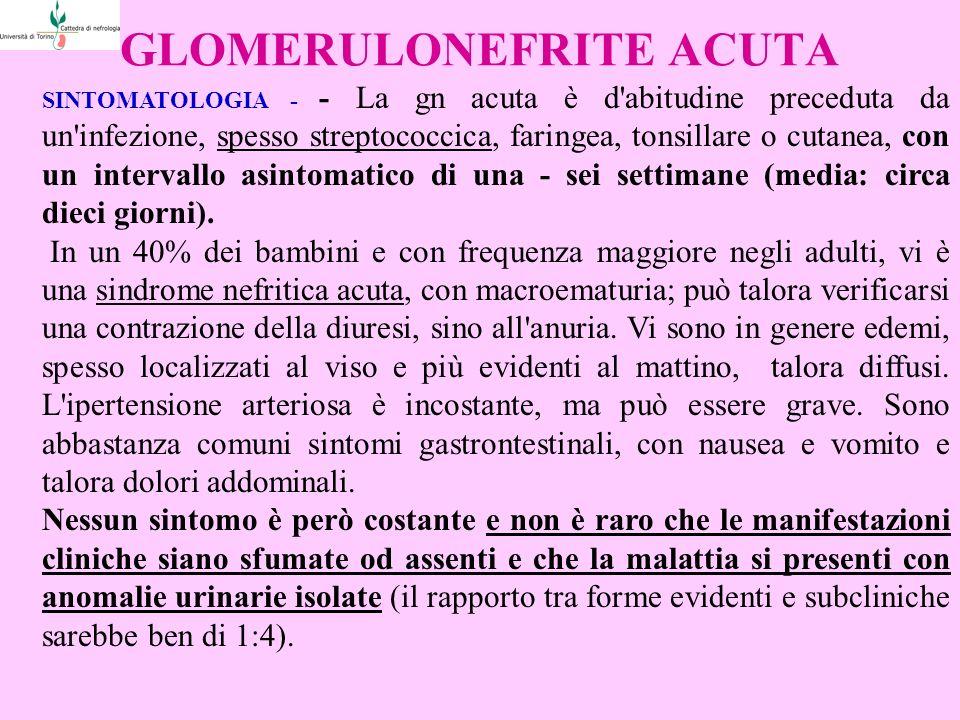 GLOMERULONEFRITE ACUTA SINTOMATOLOGIA - - La gn acuta è d abitudine preceduta da un infezione, spesso streptococcica, faringea, tonsillare o cutanea, con un intervallo asintomatico di una - sei settimane (media: circa dieci giorni).