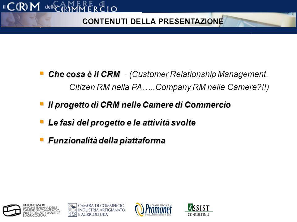 pag. 2 ÀSSIST – CRM per le Camere di Commercio Che cosa è il CRM Che cosa è il CRM - (Customer Relationship Management, Citizen RM nella PA…..Company
