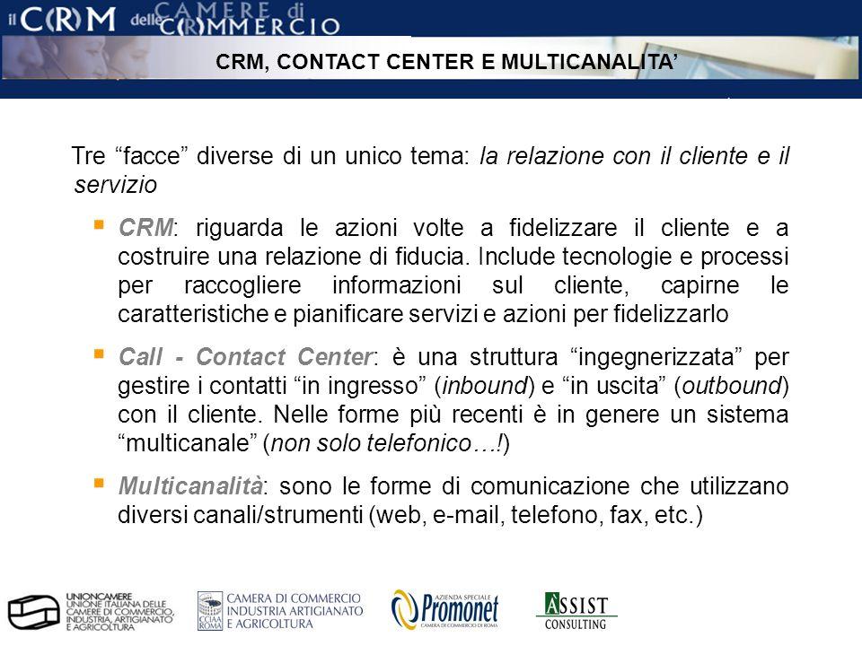 pag. 5 ÀSSIST – CRM per le Camere di Commercio Tre facce diverse di un unico tema: la relazione con il cliente e il servizio CRM: riguarda le azioni v