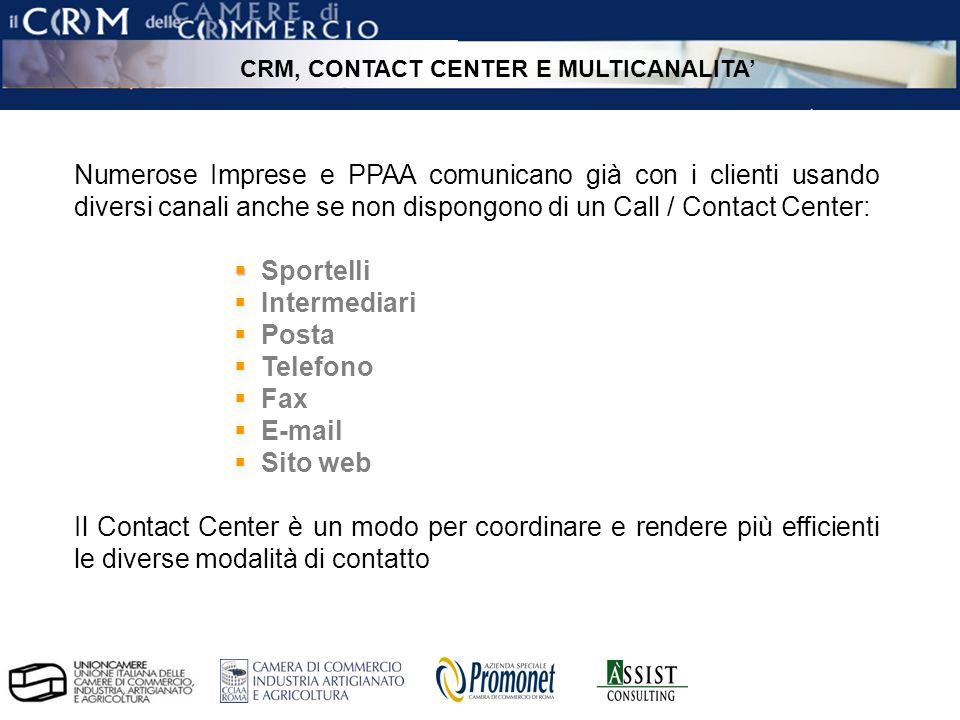 pag. 6 ÀSSIST – CRM per le Camere di Commercio Numerose Imprese e PPAA comunicano già con i clienti usando diversi canali anche se non dispongono di u