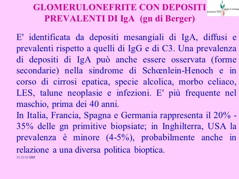 GLOMERULONEFRITE CON DEPOSITI PREVALENTI DI IgA (gn di Berger) E' identificata da depositi mesangiali di IgA, diffusi e prevalenti rispetto a quelli d