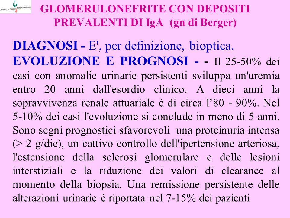 GLOMERULONEFRITE CON DEPOSITI PREVALENTI DI IgA (gn di Berger) DIAGNOSI - E', per definizione, bioptica. EVOLUZIONE E PROGNOSI - - Il 25-50% dei casi