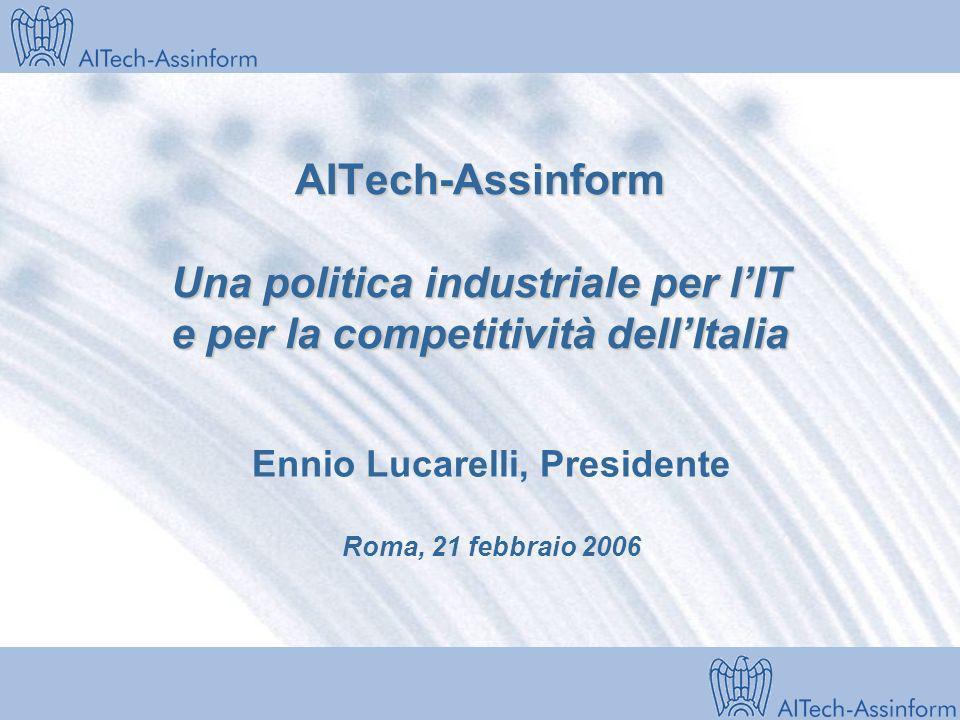Milano, 28 marzo 2001 AITech-Assinform Una politica industriale per lIT e per la competitività dellItalia Ennio Lucarelli, Presidente Roma, 21 febbraio 2006
