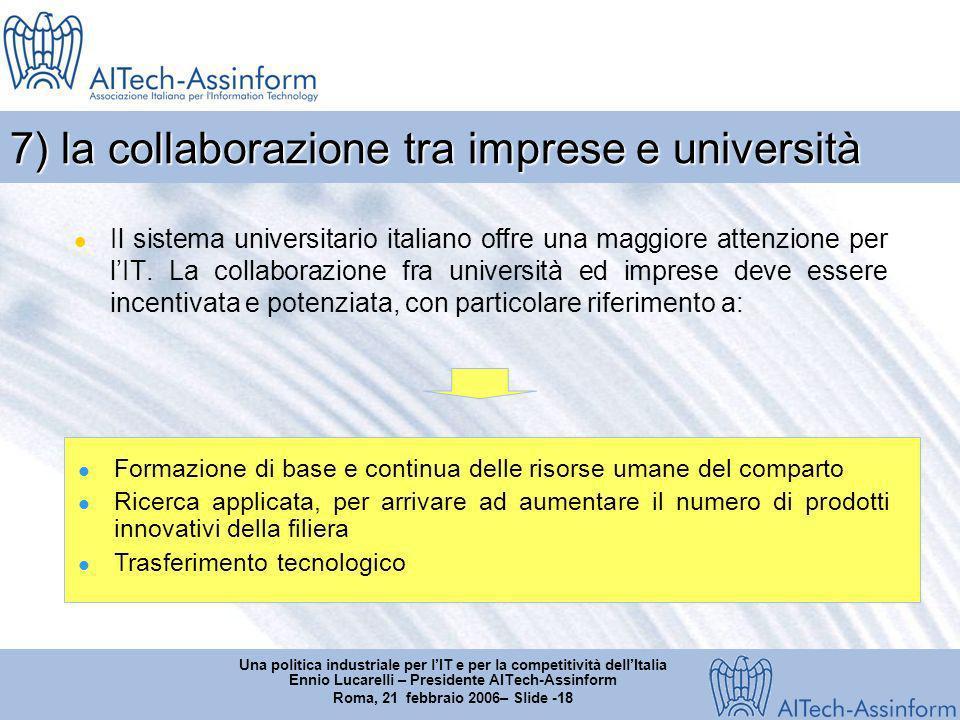 Una politica industriale per lIT e per la competitività dellItalia Ennio Lucarelli – Presidente AITech-Assinform Roma, 21 febbraio 2006– Slide -18 7) la collaborazione tra imprese e università Il sistema universitario italiano offre una maggiore attenzione per lIT.
