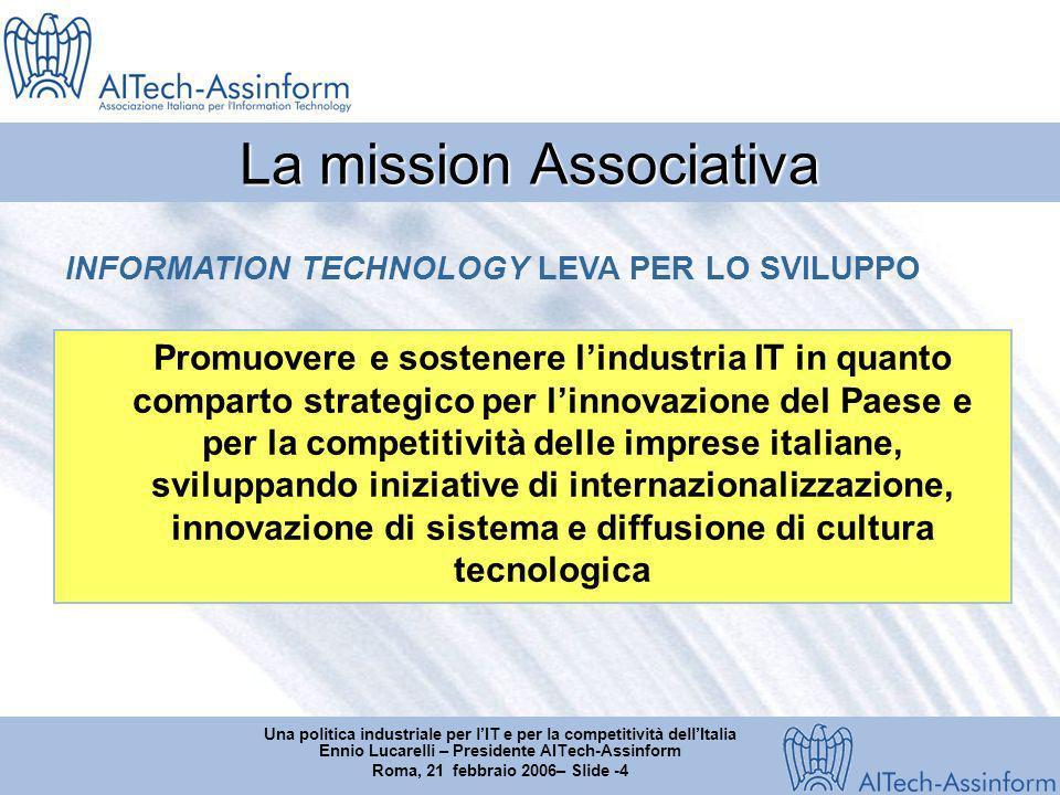 Una politica industriale per lIT e per la competitività dellItalia Ennio Lucarelli – Presidente AITech-Assinform Roma, 21 febbraio 2006– Slide -5 Il mercato