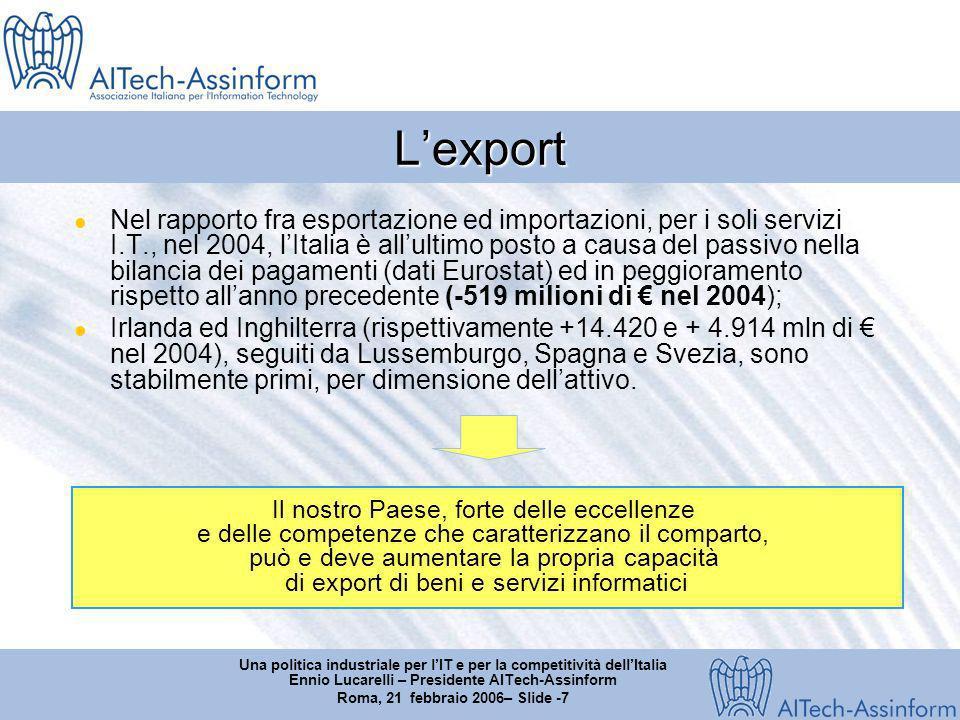 Una politica industriale per lIT e per la competitività dellItalia Ennio Lucarelli – Presidente AITech-Assinform Roma, 21 febbraio 2006– Slide -8 Il settore