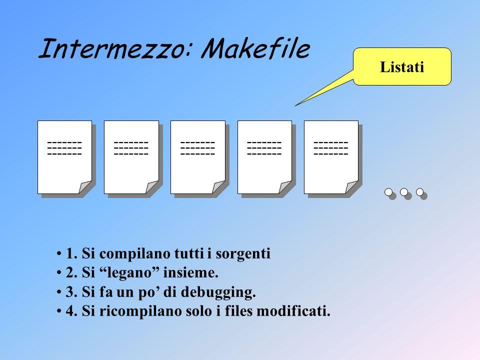 Intermezzo: Makefile ------- Listati 1. Si compilano tutti i sorgenti 2.