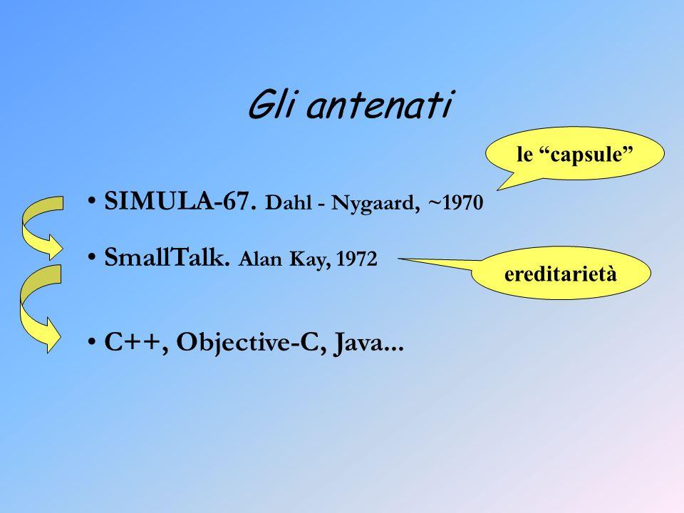 Gli antenati SIMULA-67. Dahl - Nygaard, ~1970 SmallTalk.