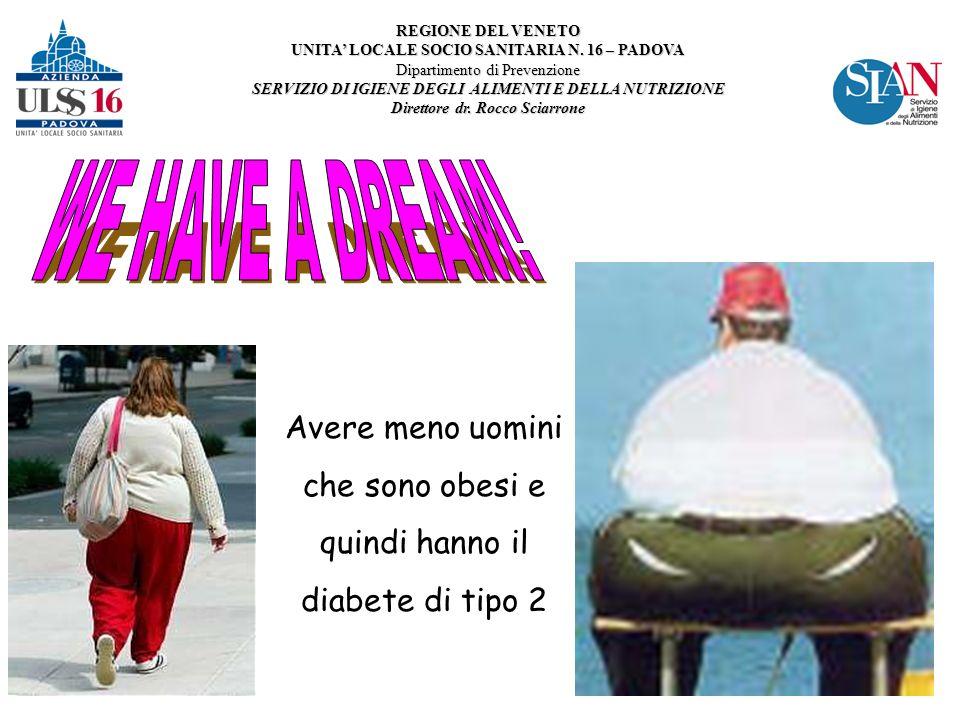 Avere meno uomini che sono obesi e quindi hanno il diabete di tipo 2 REGIONE DEL VENETO UNITA LOCALE SOCIO SANITARIA N.