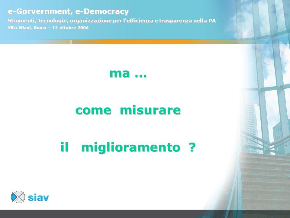 e-Gorvernment, e-Democracy Strumenti, tecnologie, organizzazione per l'efficienza e trasparenza nella PA Villa Miani, Roma – 12 ottobre 2006 ma … come