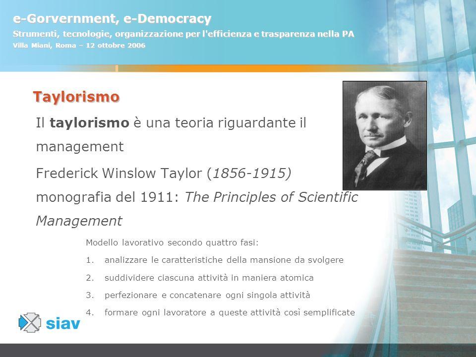 e-Gorvernment, e-Democracy Strumenti, tecnologie, organizzazione per l'efficienza e trasparenza nella PA Villa Miani, Roma – 12 ottobre 2006 Taylorism