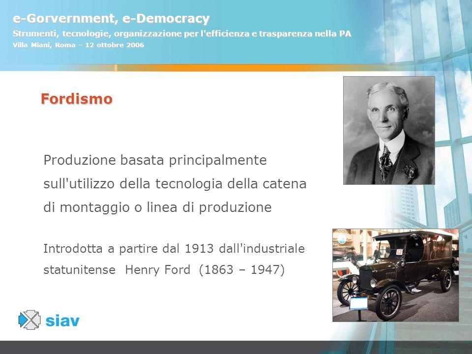 e-Gorvernment, e-Democracy Strumenti, tecnologie, organizzazione per l'efficienza e trasparenza nella PA Villa Miani, Roma – 12 ottobre 2006 Fordismo