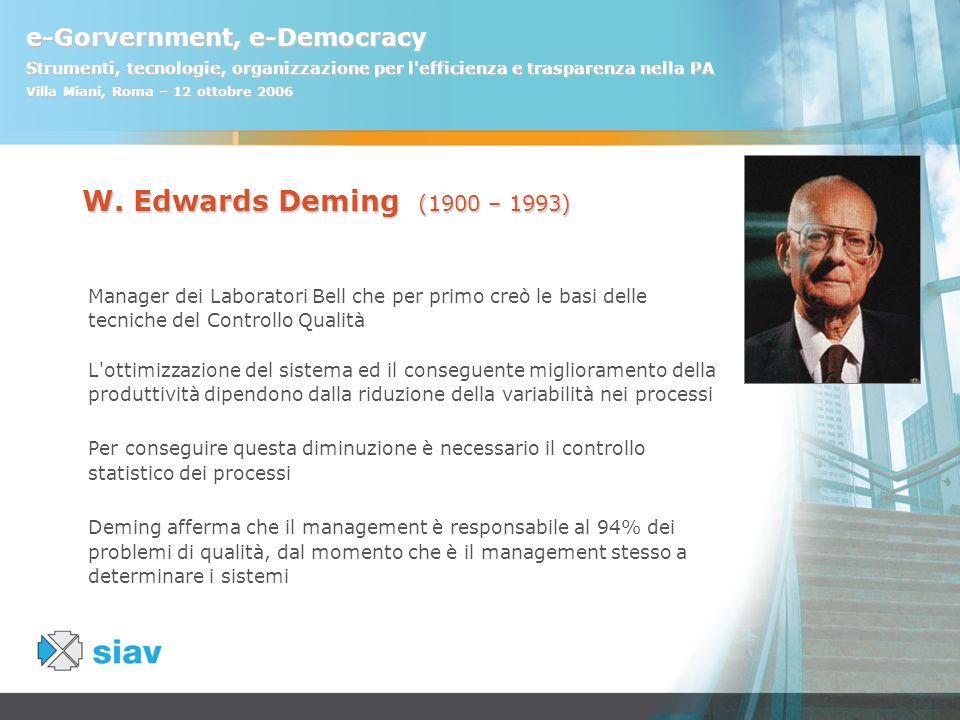 e-Gorvernment, e-Democracy Strumenti, tecnologie, organizzazione per l'efficienza e trasparenza nella PA Villa Miani, Roma – 12 ottobre 2006 W. Edward