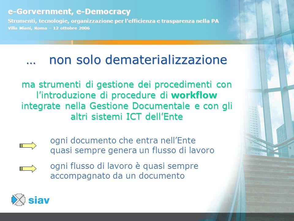 e-Gorvernment, e-Democracy Strumenti, tecnologie, organizzazione per l'efficienza e trasparenza nella PA Villa Miani, Roma – 12 ottobre 2006 … non sol