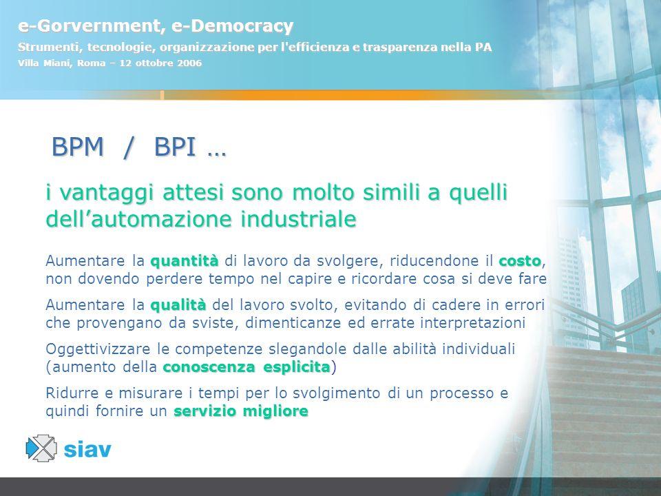 e-Gorvernment, e-Democracy Strumenti, tecnologie, organizzazione per l'efficienza e trasparenza nella PA Villa Miani, Roma – 12 ottobre 2006 i vantagg