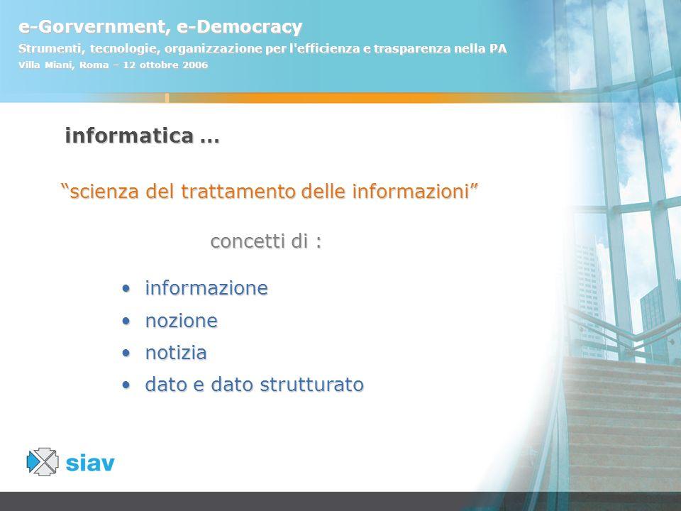 e-Gorvernment, e-Democracy Strumenti, tecnologie, organizzazione per l'efficienza e trasparenza nella PA Villa Miani, Roma – 12 ottobre 2006 informazi