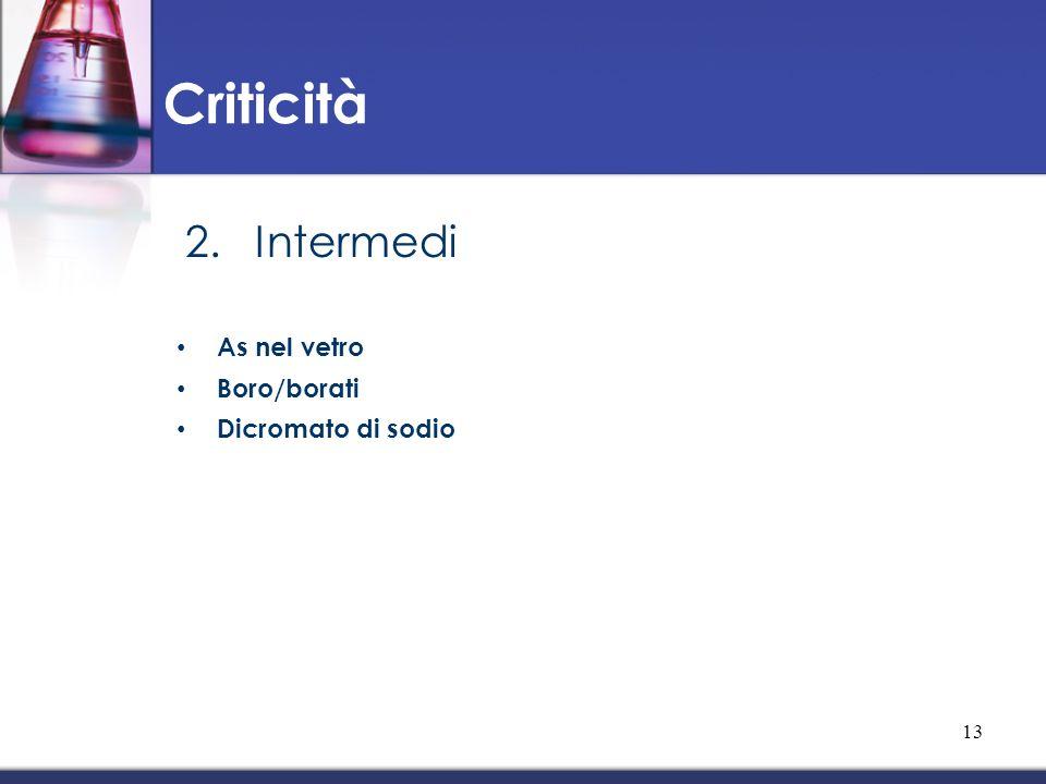 2.Intermedi As nel vetro Boro/borati Dicromato di sodio Criticità 13