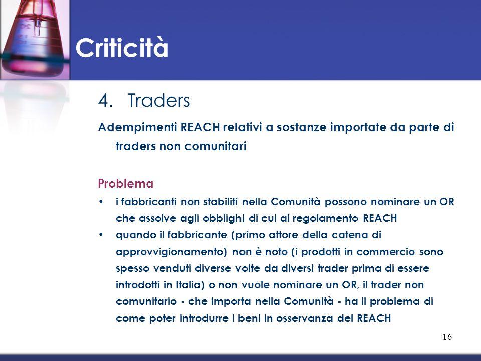 4.Traders Adempimenti REACH relativi a sostanze importate da parte di traders non comunitari Problema i fabbricanti non stabiliti nella Comunità posso
