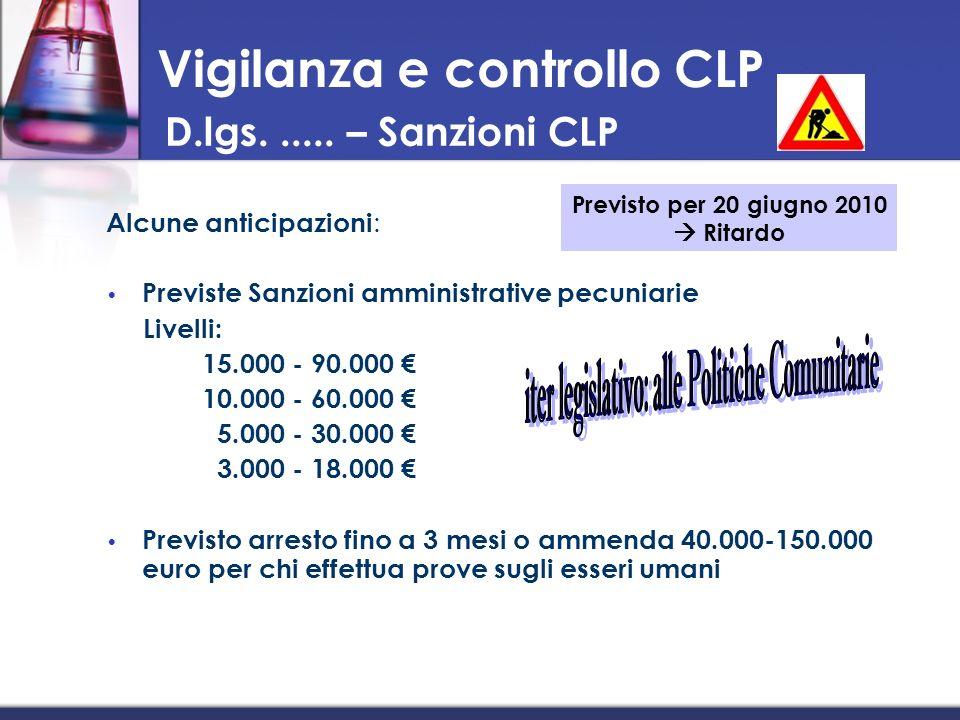 Alcune anticipazioni : Previste Sanzioni amministrative pecuniarie Livelli: 15.000 - 90.000 10.000 - 60.000 5.000 - 30.000 3.000 - 18.000 Previsto arr