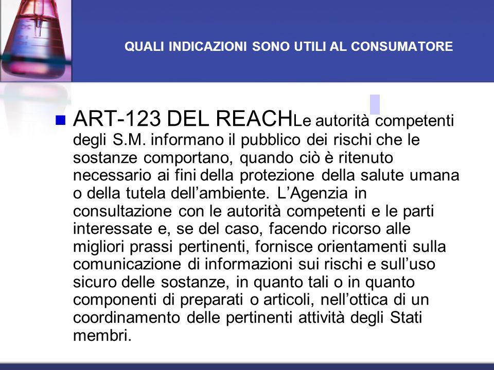 ART-123 DEL REACH Le autorità competenti degli S.M. informano il pubblico dei rischi che le sostanze comportano, quando ciò è ritenuto necessario ai f