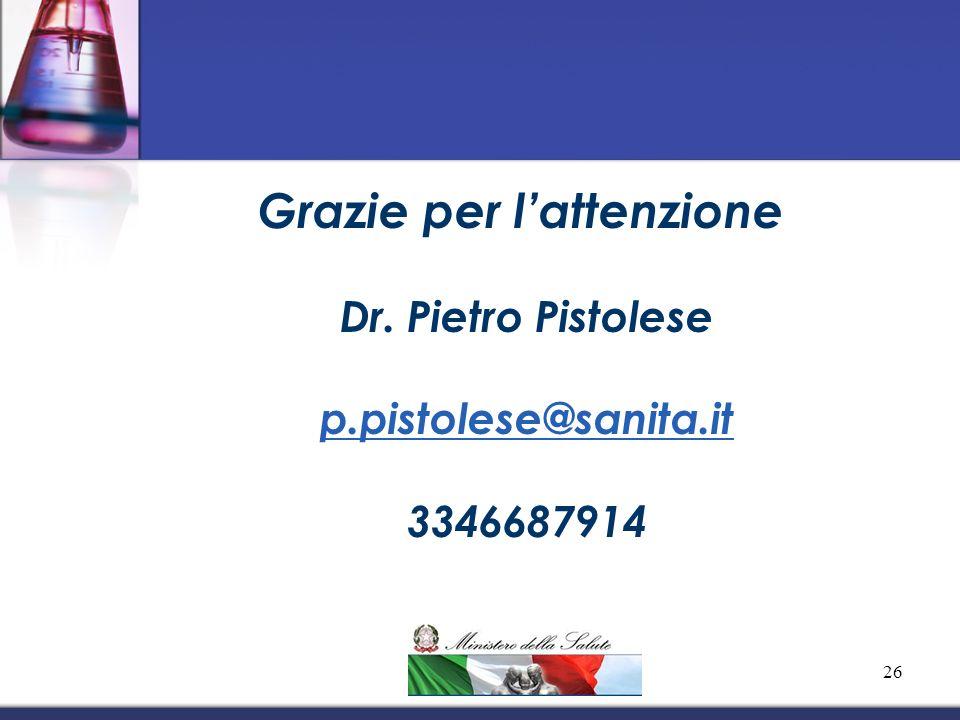 Grazie per lattenzione! Dr. Pietro Pistolese p.pistolese@sanita.it 3346687914 26