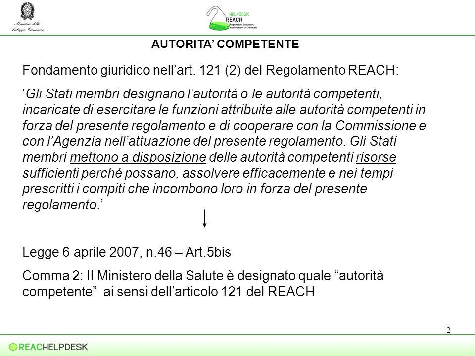 3 CHI PROVVEDE ALLATTUAZIONE DEL REACH Legge 6 aprile 2007, n.46 – Art.5bis : Il Ministero della Salute provvede, di intesa con il Ministero dellAmbiente e della Tutela del Territorio e del Mare, il Ministro dello Sviluppo Economico e la P.D.C-M – Dipartimento delle Politiche Comunitarie, agli adempimenti previsti dal Regolamento (CE) n.1907/2006 REACH.