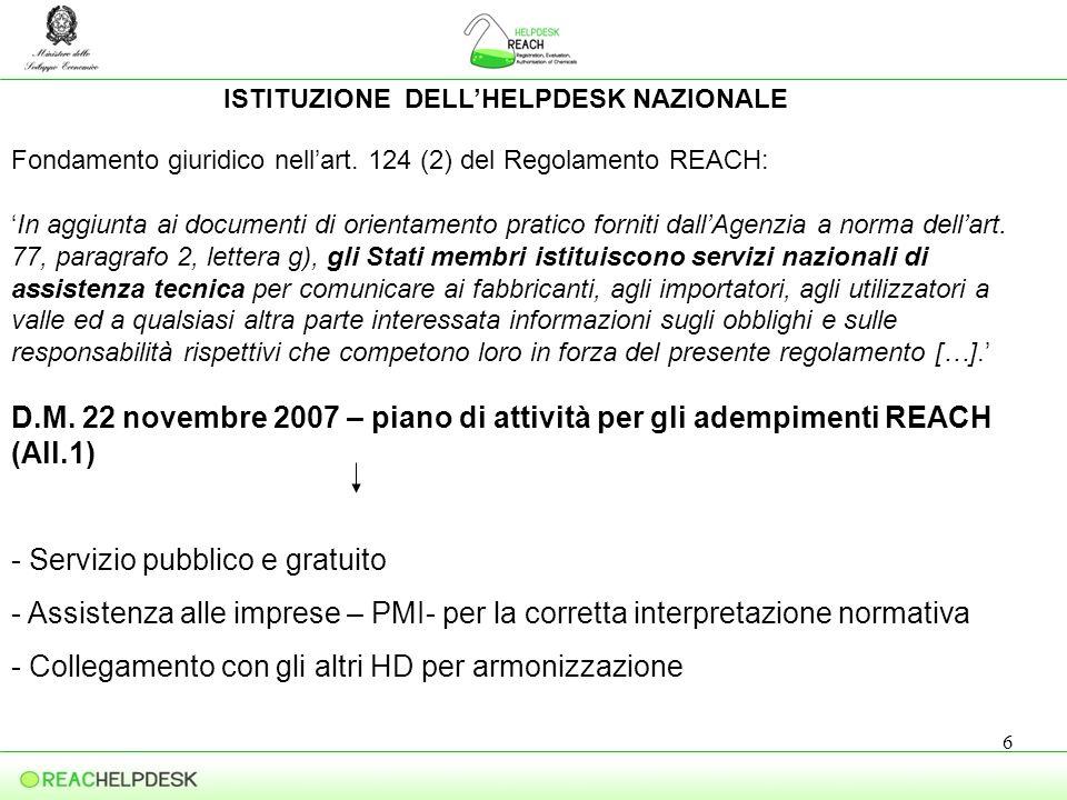 7 OPERATIVITA DEL SERVIZIO Attraverso il sito web http://reach.sviluppoeconomico.gov.it -servizi -strumenti