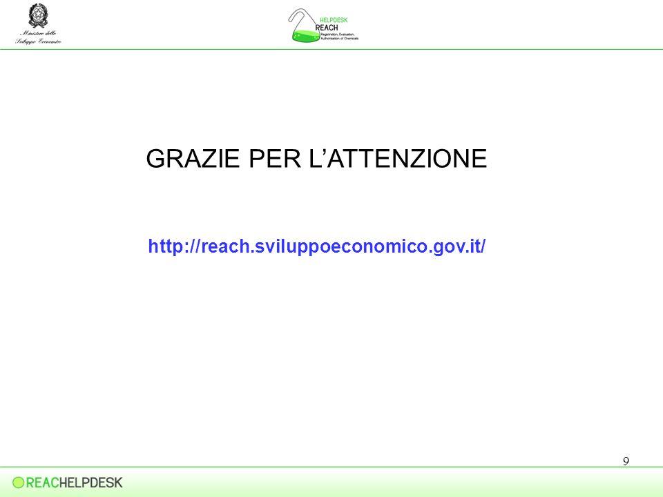 9 GRAZIE PER LATTENZIONE http://reach.sviluppoeconomico.gov.it/