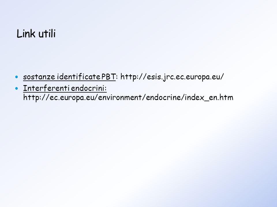sostanze identificate PBT: http://esis.jrc.ec.europa.eu/ Interferenti endocrini: http://ec.europa.eu/environment/endocrine/index_en.htm