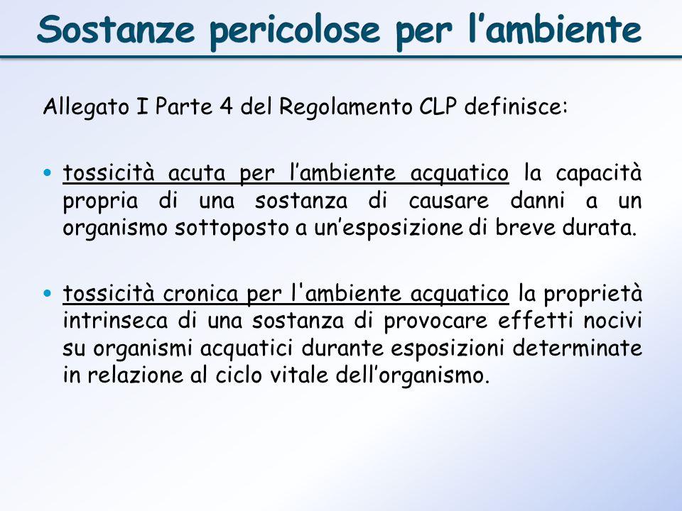Allegato I Parte 4 del Regolamento CLP definisce: tossicità acuta per lambiente acquatico la capacità propria di una sostanza di causare danni a un or