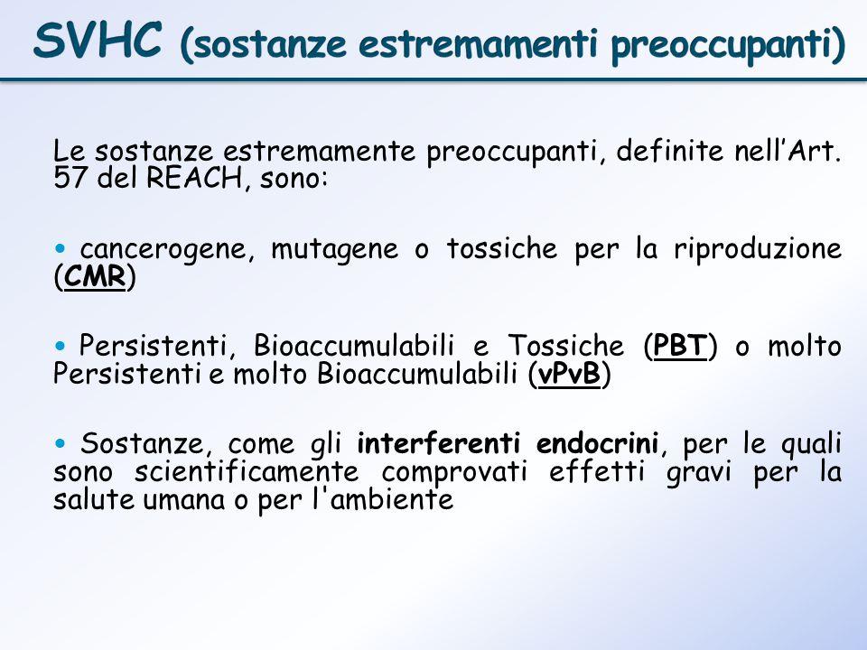 Le sostanze estremamente preoccupanti, definite nellArt. 57 del REACH, sono: cancerogene, mutagene o tossiche per la riproduzione (CMR) Persistenti, B