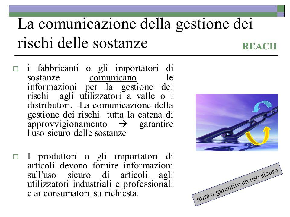 La comunicazione della gestione dei rischi delle sostanze i fabbricanti o gli importatori di sostanze comunicano le informazioni per la gestione dei r