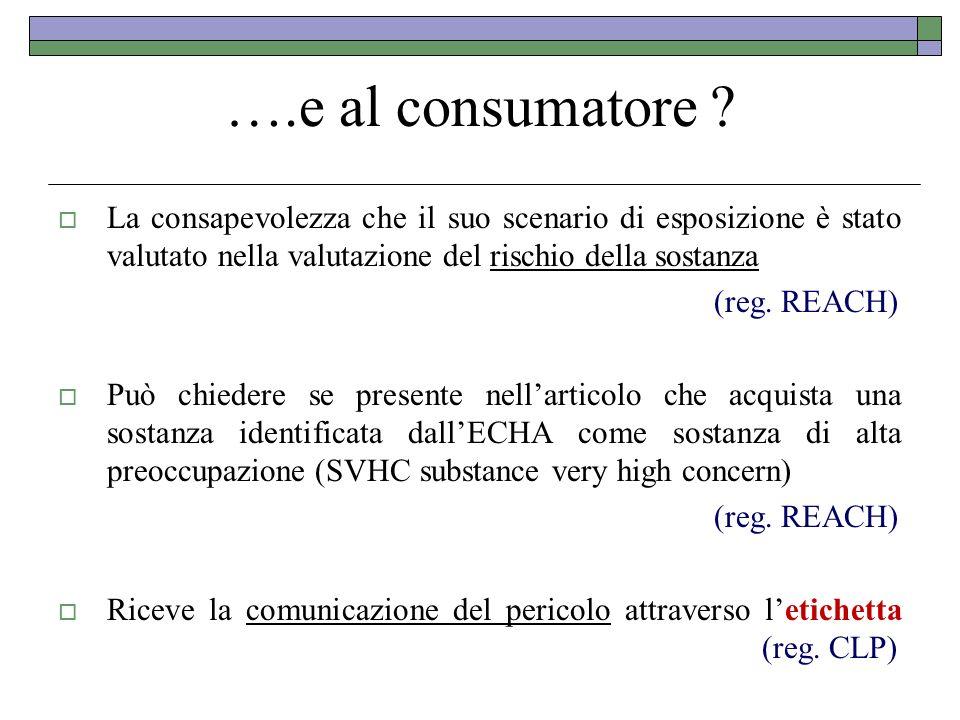 ….e al consumatore ? La consapevolezza che il suo scenario di esposizione è stato valutato nella valutazione del rischio della sostanza (reg. REACH) P