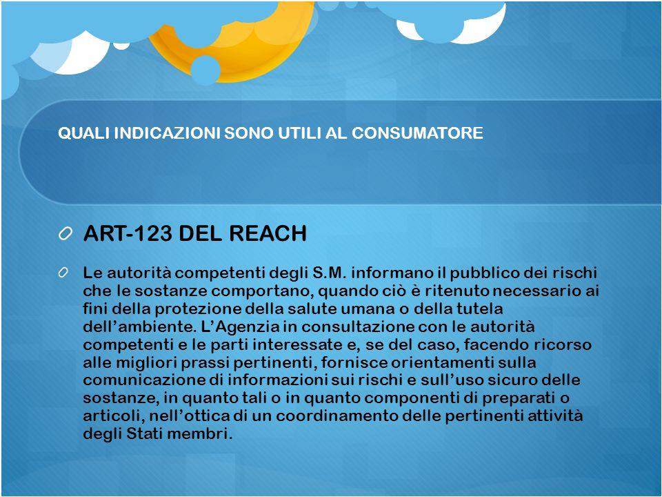 QUALI INDICAZIONI SONO UTILI AL CONSUMATORE ART-123 DEL REACH Le autorità competenti degli S.M. informano il pubblico dei rischi che le sostanze compo