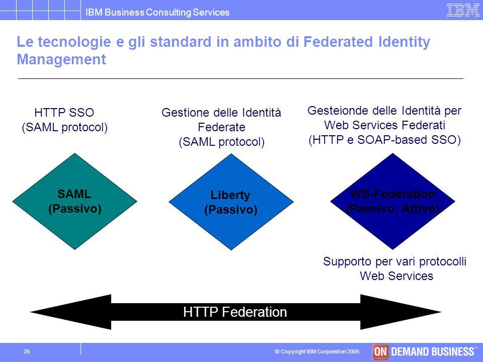 © Copyright IBM Corporation 2005 IBM Business Consulting Services 25 I ruoli in un modello federato: Fornitore delle Identità e Fornitore dei Servizi