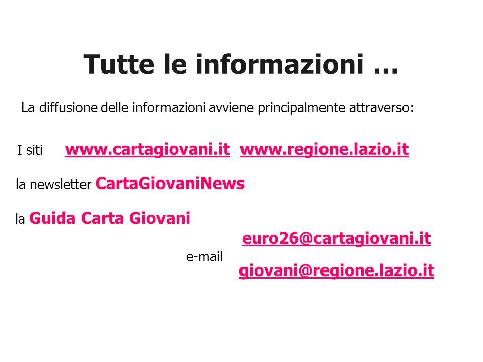 La diffusione delle informazioni avviene principalmente attraverso: Tutte le informazioni … I siti www.cartagiovani.it www.regione.lazio.it www.cartag