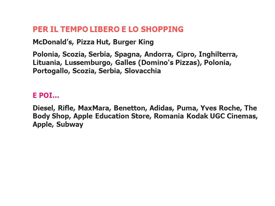 PER IL TEMPO LIBERO E LO SHOPPING McDonalds, Pizza Hut, Burger King Polonia, Scozia, Serbia, Spagna, Andorra, Cipro, Inghilterra, Lituania, Lussemburg
