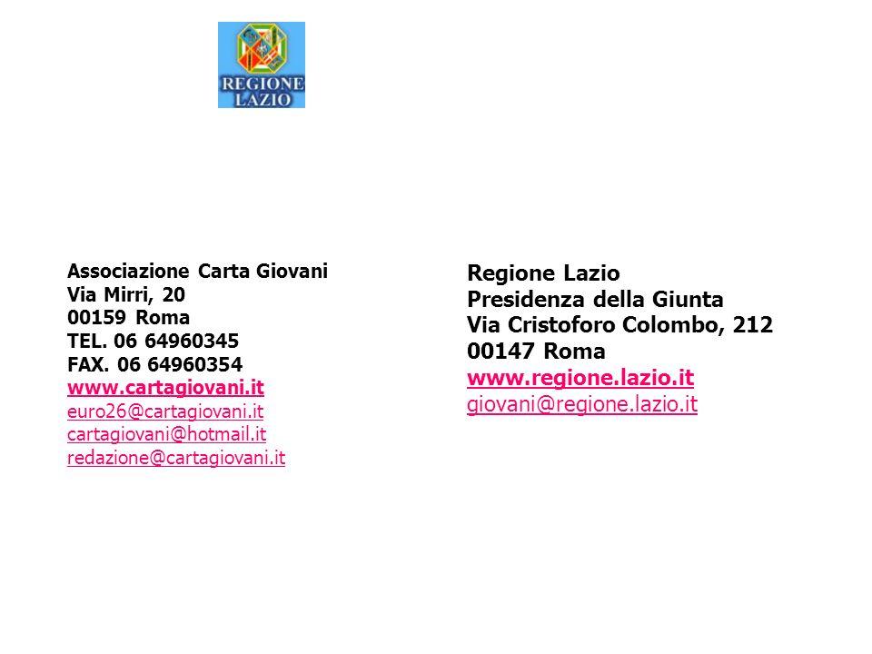 Associazione Carta Giovani Via Mirri, 20 00159 Roma TEL. 06 64960345 FAX. 06 64960354 www.cartagiovani.it euro26@cartagiovani.it cartagiovani@hotmail.