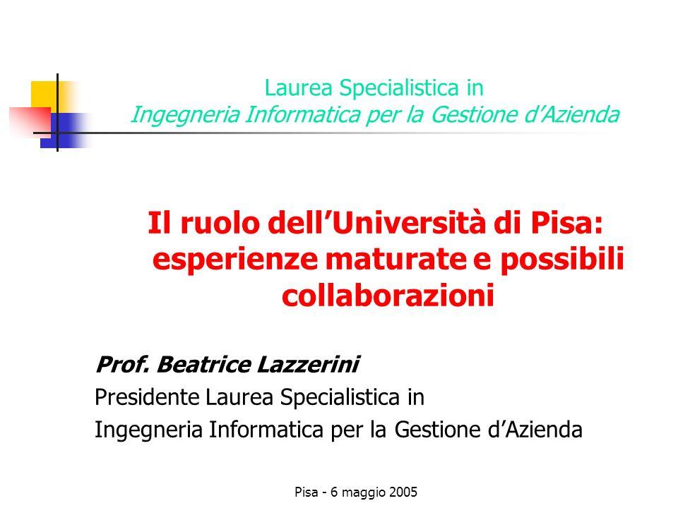 Pisa - 6 maggio 2005 Laurea Specialistica in Ingegneria Informatica per la Gestione dAzienda Il ruolo dellUniversità di Pisa: esperienze maturate e possibili collaborazioni Prof.