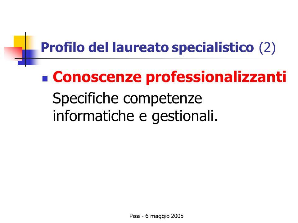 Pisa - 6 maggio 2005 Profilo del laureato specialistico (2) Conoscenze professionalizzanti Specifiche competenze informatiche e gestionali.