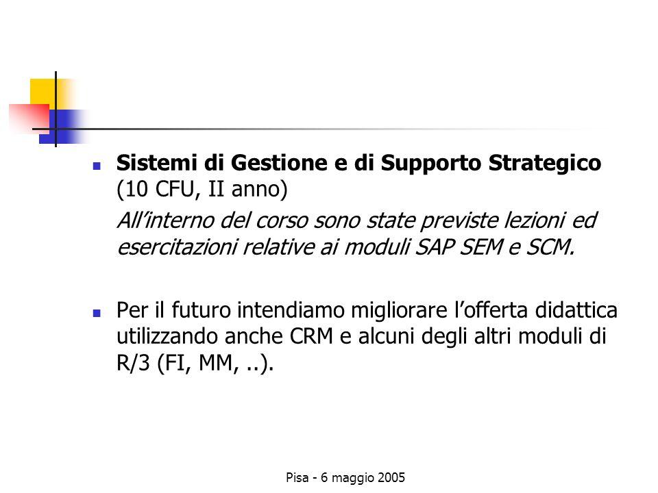 Pisa - 6 maggio 2005 Sistemi di Gestione e di Supporto Strategico (10 CFU, II anno) Allinterno del corso sono state previste lezioni ed esercitazioni relative ai moduli SAP SEM e SCM.