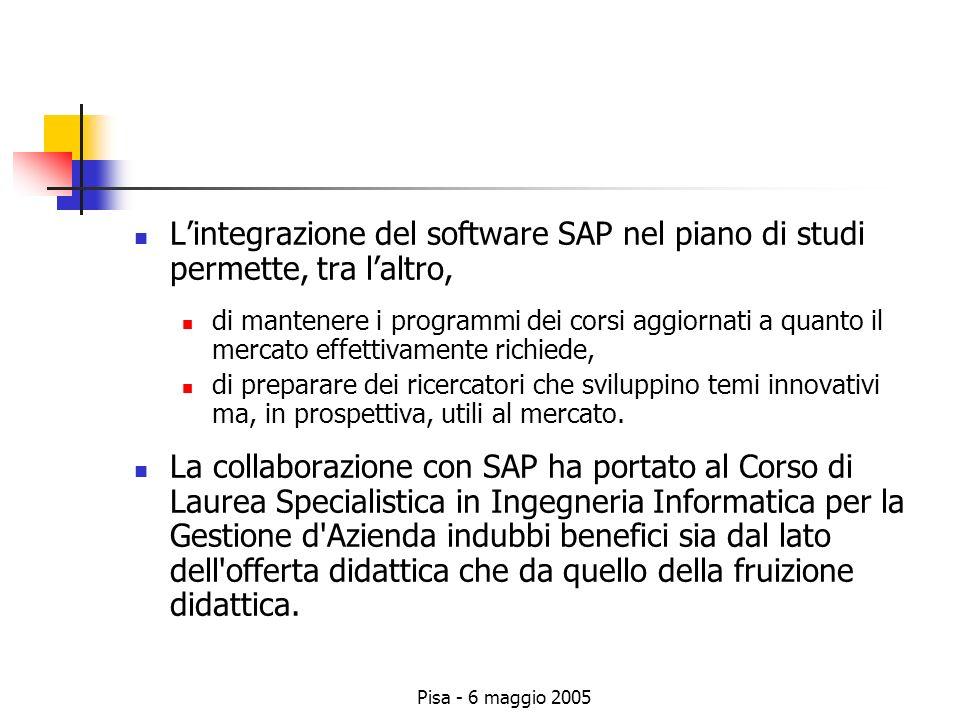 Pisa - 6 maggio 2005 Lintegrazione del software SAP nel piano di studi permette, tra laltro, di mantenere i programmi dei corsi aggiornati a quanto il mercato effettivamente richiede, di preparare dei ricercatori che sviluppino temi innovativi ma, in prospettiva, utili al mercato.