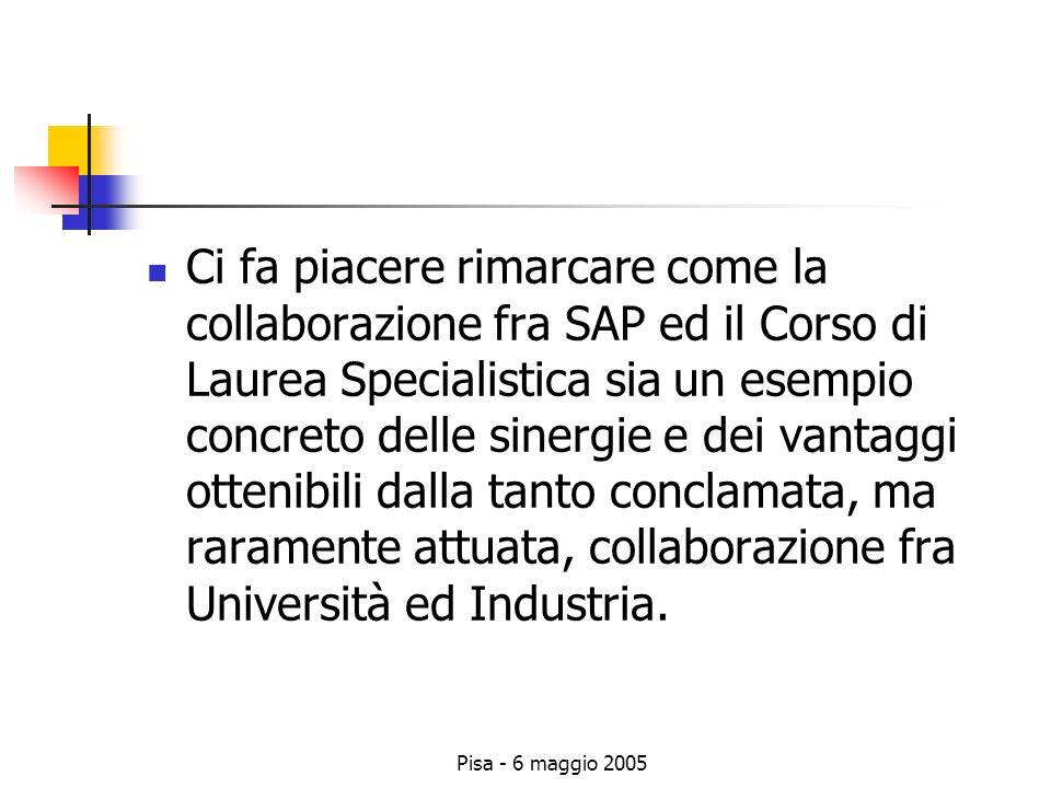 Pisa - 6 maggio 2005 Ci fa piacere rimarcare come la collaborazione fra SAP ed il Corso di Laurea Specialistica sia un esempio concreto delle sinergie e dei vantaggi ottenibili dalla tanto conclamata, ma raramente attuata, collaborazione fra Università ed Industria.