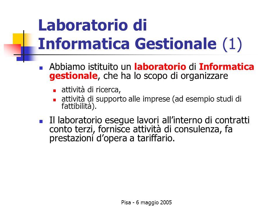 Pisa - 6 maggio 2005 Laboratorio di Informatica Gestionale (1) Abbiamo istituito un laboratorio di Informatica gestionale, che ha lo scopo di organizzare attività di ricerca, attività di supporto alle imprese (ad esempio studi di fattibilità).