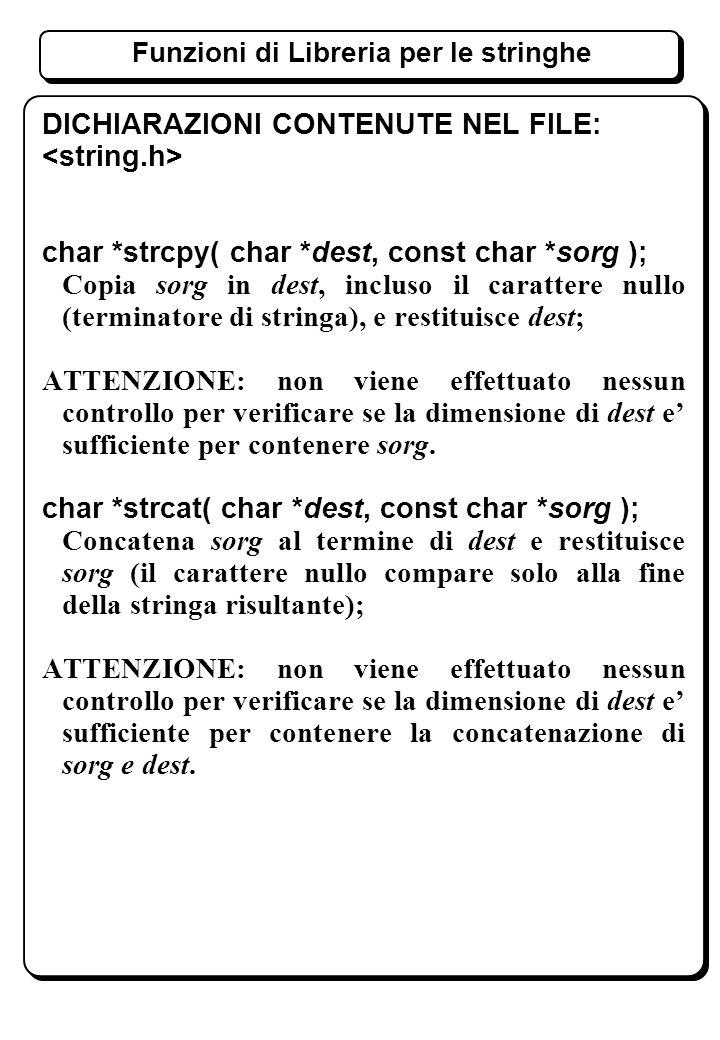 Funzioni di Libreria per le stringhe DICHIARAZIONI CONTENUTE NEL FILE: char *strcpy( char *dest, const char *sorg ); Copia sorg in dest, incluso il carattere nullo (terminatore di stringa), e restituisce dest; ATTENZIONE: non viene effettuato nessun controllo per verificare se la dimensione di dest e sufficiente per contenere sorg.