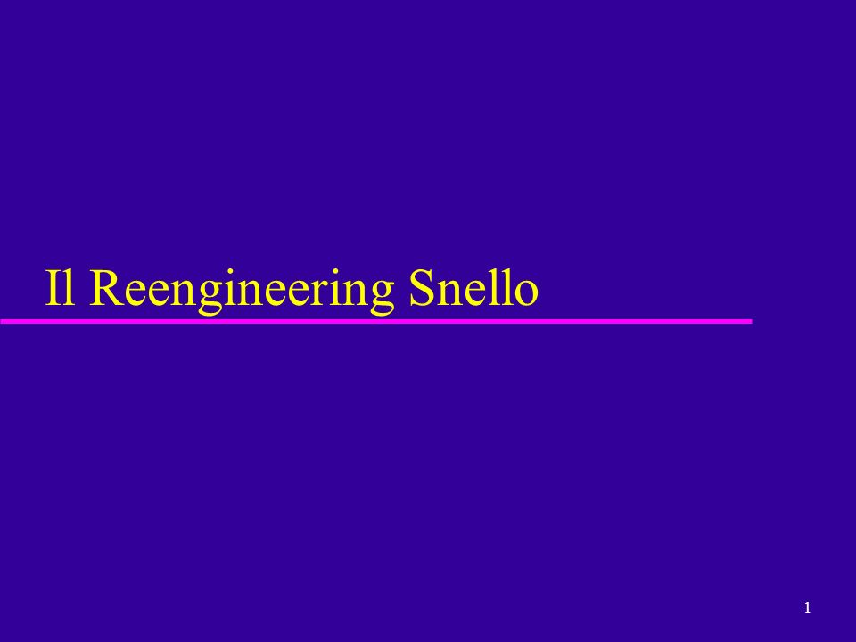 1 Il Reengineering Snello