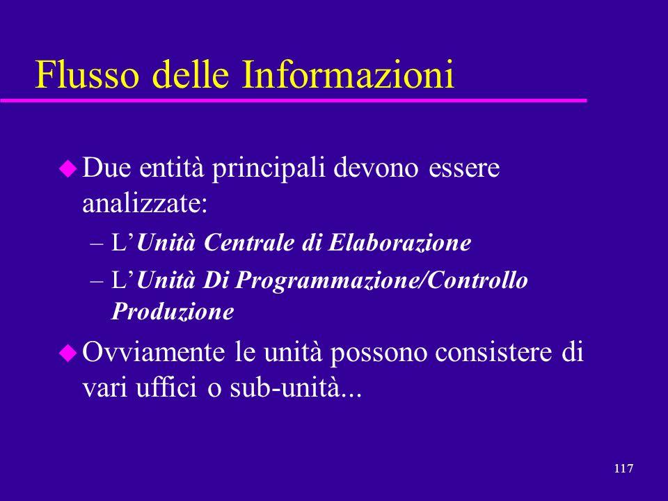 117 Flusso delle Informazioni u Due entità principali devono essere analizzate: –LUnità Centrale di Elaborazione –LUnità Di Programmazione/Controllo P