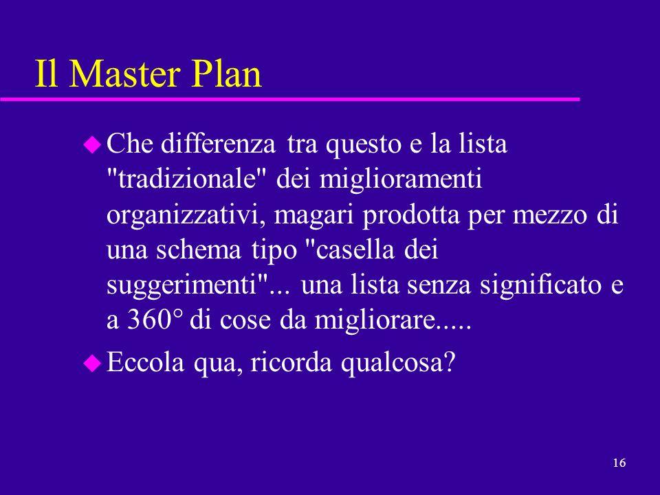 16 Il Master Plan u Che differenza tra questo e la lista
