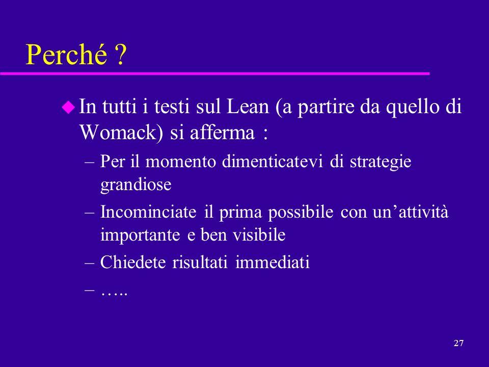 27 Perché ? u In tutti i testi sul Lean (a partire da quello di Womack) si afferma : –Per il momento dimenticatevi di strategie grandiose –Incominciat